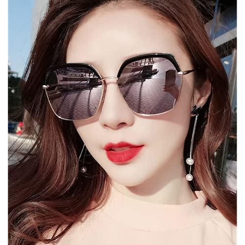 Mcottage Gafas de Sol Femenino Tide 2021 Nuevo Cara Grande antiultravioleta para Adelgazar Gafas de Sol Polarizadas Polarizadas Femeninas Verano