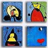 Printerland Cuadros estilo Miro' Mirò impresión sobre lienzo, 4 piezas, 40 x 40 cm, decoración abstracta XXL, decoración para salón, dormitorio, cocina, cocina, oficina, bar, restaurante, madera