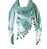 The Original Keffiyeh Pañuelo árabe Kufiya 100% algodón original unisex Shemagh chal 120 x 120 cm - verde - Large