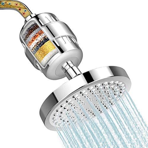 yanqiu Filtro de ducha para agua dura, purificación de 15 etapas, filtro de ducha de alto rendimiento con cabezal de ducha para agua dura, eliminar cloro y sustancias nocivas (6 pulgadas)