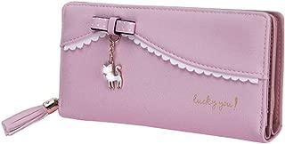 Pusaman The New Tassel Zipper Ms. Purse, Clutch Bag Cartoon cat Pendant, Ms. Long Wallet (Color : Pink, Size : 19 * 9.5 * 3CM)