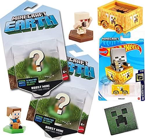 Hot Wheels Earth Minecart coche compatible con Minecraft Ride-Along Carro incluido con Boost Mini figuras, paquete de 2 + pegatina de cara enredadera 4 artículos