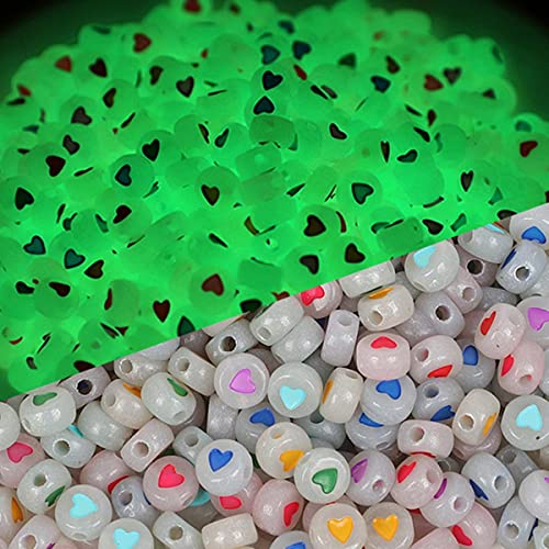 100 cuentas luminosas de 7 mm que brillan en la oscuridad para pulseras, joyería, bricolaje, dijes acrílicos, letras y collares hechos a mano, colores corazón-2