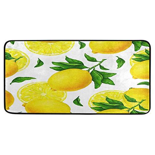 Alfombra de cocina de frutas de limón amarillas con ramas y hojas verdes, alfombra de baño, alfombra antideslizante, para baño interior, 99 x 50 cm