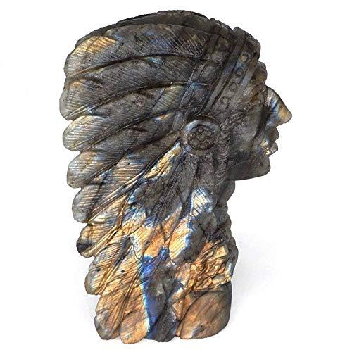 LQCN Indien Schädel Figur natürlichen Edelstein Labradorit Geschnitzte Statue Crystal Healing Home Decor, 1pc