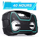 Portable IPX7 Waterproof Bluetooth Speakers, 40-Hour Playtime Wireless Outdoor Speaker, 25W Rich Bass Impressive Sound, Stereo Pairing, Built-in Mic, 100ft Bluetooth, LED Lights, Valentines Gift