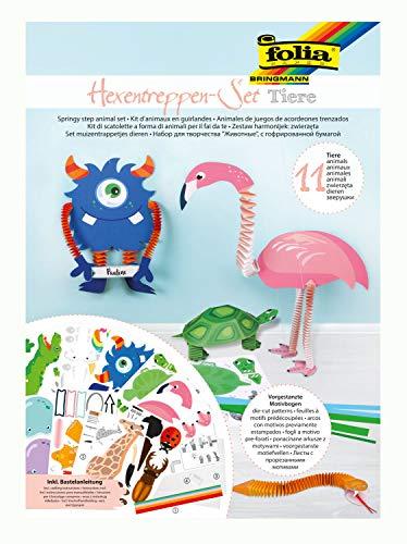 folia 21901 - Bastelset Hexentreppen-Tiere, Set für 11 Figuren, 262 Teile - ideal für Kinder zum Erstellen lustiger Figuren aus Papier