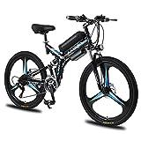 RuBao Bicicleta eléctrica de 26 pulgadas, 21 velocidades, 350 W, plegable, batería de litio para adultos, bicicleta de montaña, para viajes, motor, negro, 36 V, 8 AH/10 AH (tamaño: 36 V350 W/10 AH)