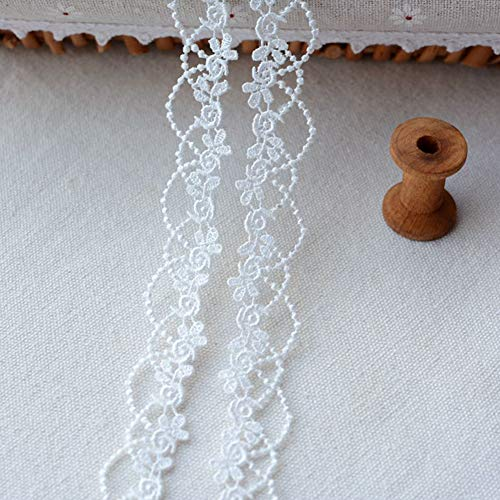 DAHI spitzenband 15 Yard Spitzenborte Ätze Spitze für Choker Halsketten Nähen Handwerk Hochzeit Deko Scrapbooking Geschenkbox (D-weiß)