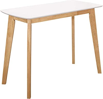 "Offex 42"" Retro Modern Solid Wood Writing Desk - White/Natural"
