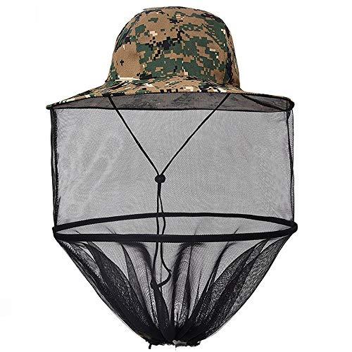 Apanphy® Sombrero Antimosquitos, Aire Libre Pesca Sombreros El Sol Sombrero Verano Sombrero Sun Fishing Hat Cap Malla Sombrero Copa Sombrero con Malla Neta para Hombres Mujeres - Camuflaje Verde