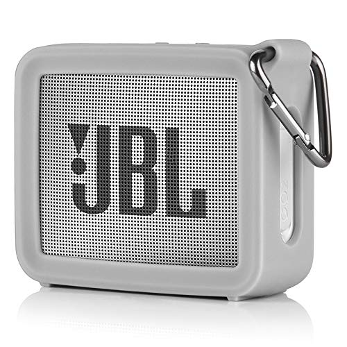 TXEsign Travel Protective Silicone Stand Up Carrying Case Compatible with JBL GO 2 Portable Bluetooth Waterproof Speaker (Grey)