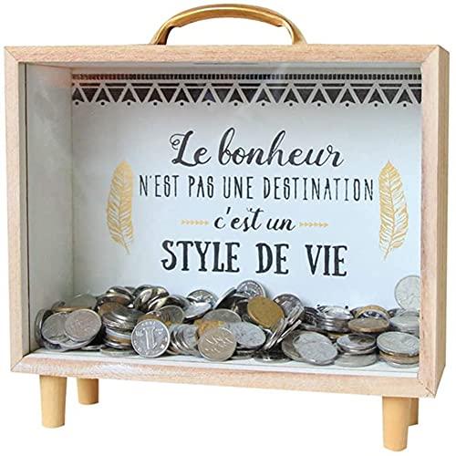 Hucha de madera, caja de dinero personalizada para fotos personalizadas, para ahorros,...
