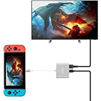 TUTUO Nintendo Switch Dock USB Tipo C a HDMI Adaptador USB Hub Convertidor Cable USB 3.0 y USB C PD (Power Delivery) Hub para Nintendo Switch, Macbook Pro 2017 2016, Samsung Galaxy Note9 S9, Oneplus 6
