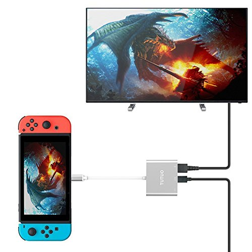 TUTUO Adattatore USB C a HDMI per Nintendo Switch,USB-A 3.0 e USB Type C Hub (Porta di Ricarica PD Power Delivery),1080P Convertitore HDMI per MacBook Air/iPad PRO/Samsung Galaxy S21/HUAWEI Mate 20