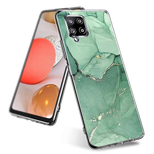 Shazikaihui Funda para Samsung Galaxy A42 5G, funda suave de TPU transparente, funda de silicona con diseño de mármol verde y flores, funda de color para Galaxy A42 5G Cover a 42