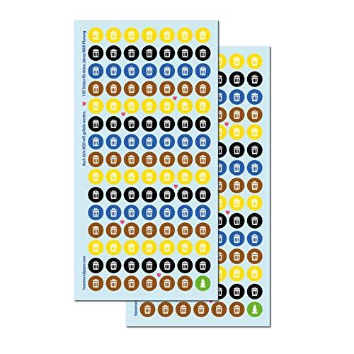 heaven+paper Mülltonnen-Sticker 210 Mini Aufkleber | für Jahresplanung der Mülltonnen Leerung durch Müllabfuhr | Niemals wieder den Biomüll Restmüll Papiertonne und gelben Sack vergessen!