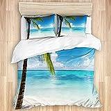 ALLMILL Juego de Ropa de Cama,Bahía Caribe Palm Beach Turismo Naturaleza Dominicana Parques de Islas Calientes Cielo idílico Diseño al Aire Libre Arena (140x200cm) y 2 Funda de Almohada (50x80cm)