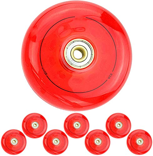 YSHUAI Hockey-Rollen, 72 mm/76 mm/80 mm, Inline-Skates, PU-Rad, blau und rot, transparent, Ersatzrad, rot, 80 mm