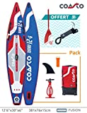 Coasto PB-CTUR126 Stand Up Paddle Gonflable Thermique Turbo 12'6 Bleu/Rouge/Blanc 381 x 76 x 15 cm