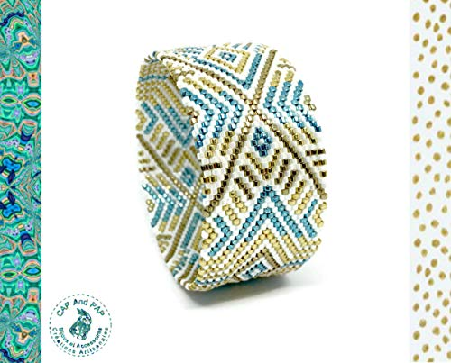 Pulsera ancha de estilo egipcio, brazalete gráfico, sin cierre, blanco, azul, oro,...