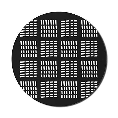 Abstraktes Mauspad für Computer, monochrome Strichlinie Wolkenkratzer im urbanen Stil Quadratische Fenster Geometrische Grafik, rundes, rutschfestes, dickes Gummi Modernes Gaming-Mousepad, 8 'rund, sc