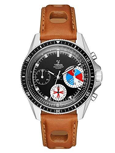 Yema Yachtingraf Heritage YYAC2018-AUS Herren-Armbanduhr, Schweizer Uhrwerk ETA Valjoux 7753, Saphirglas, Gehäuse 39 mm, Armband aus pflanzlich gegerbtem Leder, 10 bar, Countdown, Chronograph