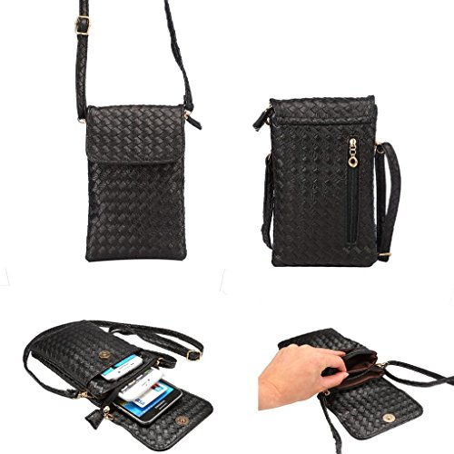 WaitingU Universal Crossbody Bag Purse Cell Phone Pouch Multipurpose Soft PU Leather Wallet Moblie Phone Carrying Cases Shoulder Bag with Shoulder Strap for Smartphone Under 6.2'' from Black