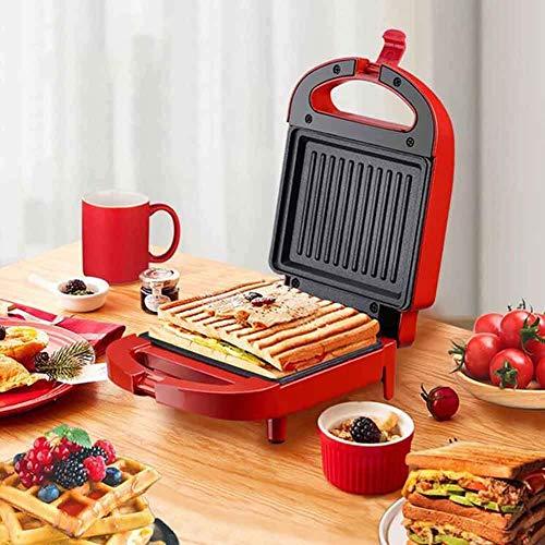 Máquina de sándwich Máquina de desayuno Máquina de comida ligera para el hogar Waffle Maker Multifunción Calefacción Tostadora, Fácil limpio, Rojo BJY969
