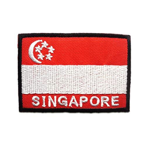 Singapur Flagge Fahne - Aufnäher, Bügelbild, Aufbügler, Applikationen, Patches, Flicken, zum aufbügeln, Größe: 4,8 x 7 cm