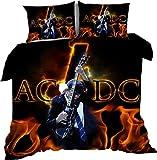 AmenSixye Gruppo di Musica Rock AC/DC 3D Copertura del Fumetto del Duvet Twin Set Completo Queen King Size Set di Biancheria da Letto Biancheria da Letto di Copertura Trapunte,150x200cm(3pezzi)