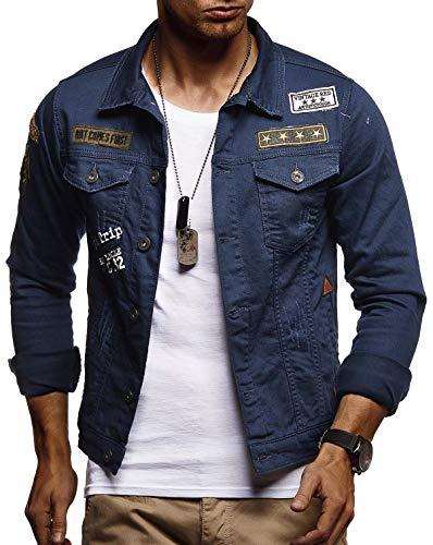 Leif Nelson Herren Jeans-Jacke mit Knopf Freizeitjacke Slim Fit Das Beste in Kleidung Männer LN9565; Größe M, Blau
