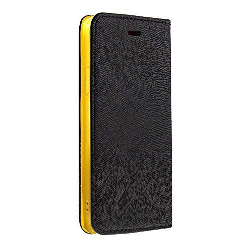 サフィアーノレザー 手帳型 スマホケース スマホカバー ストラップ付 (【左利き用】iPhone5s / SE, Black×Yellow)
