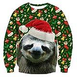 TUONROAD Herren Weihnachtspullover Grün 3D Druck Faultier Unisex Pullover Weihnachten Sweatshirt Ugly Christmas Sweater L