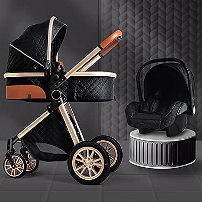 HZPXSB Cochecito de bebé de Lujo 3 en 1 Nuevo Cochecito portátil Carro de bebé Cochecito Plegable Baby Baby BABSINET (Color : Black)