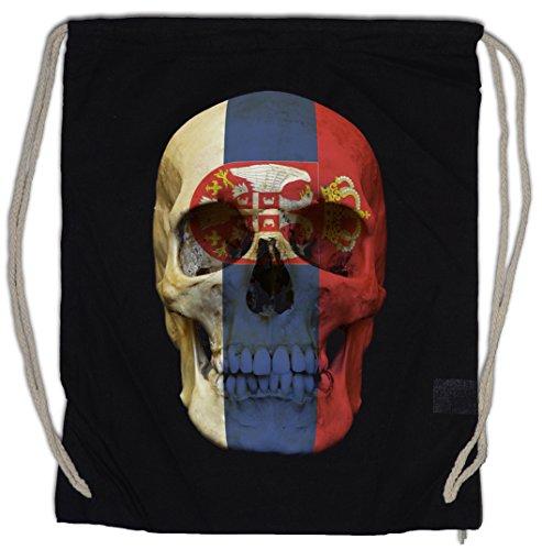 Urban Backwoods Classic Serbia Skull Flag Turnbeutel Sporttasche Totenkopf Schädel Banner Fahne...
