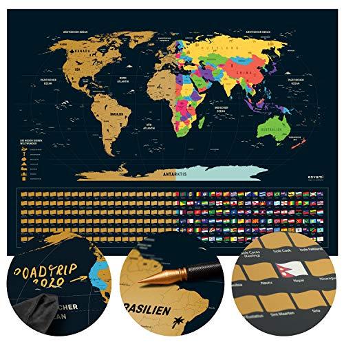 Weltkarte zum Rubbeln - Rubbel Weltkarte - Deutsch - 80x60cm - Scratch Off Map - Landkarte zum Freirubbeln - Rubbelkarte - Map World - Rubbelweltkarte