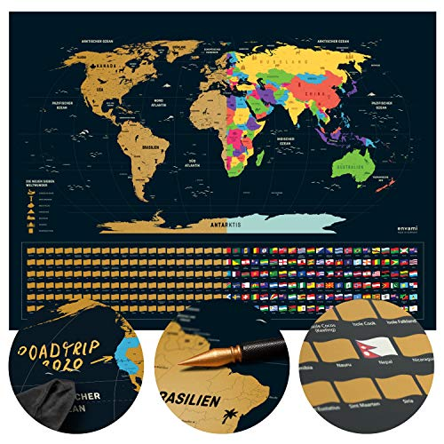 Weltkarte zum Rubbeln I Rubbel Weltkarte I Deutsch I 80x60cm I Scratch Off Map I Landkarte zum Freirubbeln I Rubbelkarte I Map World I Rubbelweltkarte I