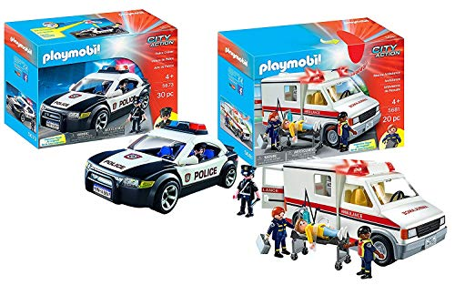 PLAYMOBIL Police Car and Rescue Ambulance