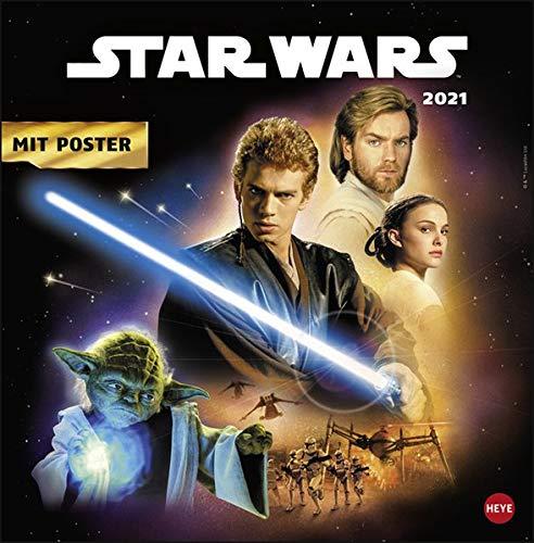 Star Wars Broschurkalender 2021 - mit Poster - Wandkalender mit Monatskalendarium und Platz für Eintragungen - Format 29,5 x 30 cm (29,5 x 60 cm geöffnet)