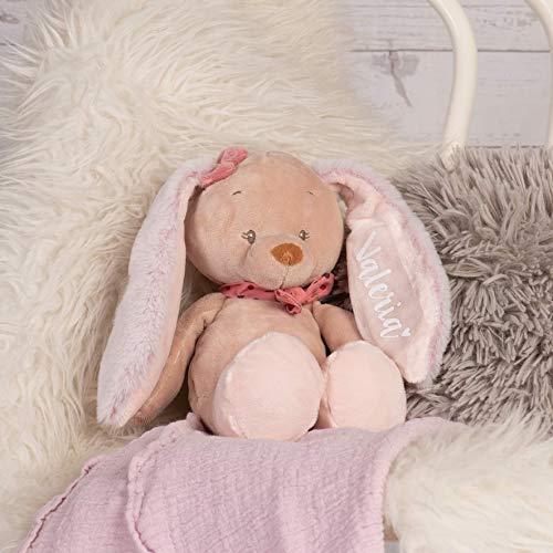 Kuscheltier Hase rosa mit Name