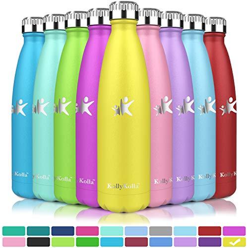 KollyKolla Vakuum Isolierte Edelstahl Trinkflasche, 750ml BPA Frei Wasserflasche Auslaufsicher, Thermosflasche für Kinder, Schule, Mädchen, Sport, Outdoor, Fahrrad, Büro, Fitness (Voll Hellgelb)