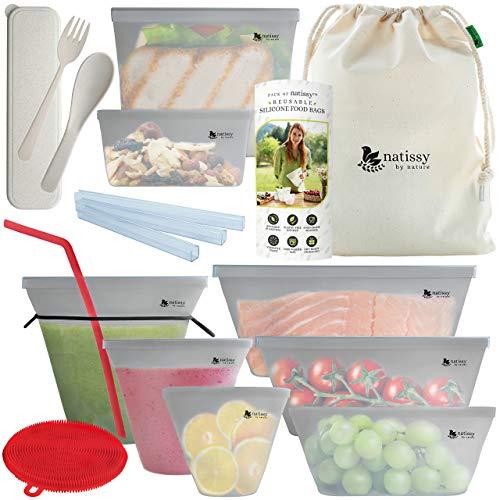 Silikon Lebensmittel Beutel, 8 Stück Zip Silikon Gefrierbeutel Wiederverwendbar für Gemüse, Obst, Brot, Sandwich; Silikon Zipper Aufbewahrungsbeutel mit Verschluss Silicone Kochbeutel Wiederverwendbar