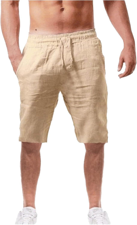 LEIYAN Mens Cotton Linen Shorts Casual Stretch Waist Drawstring Capri Yoga Shorts Active Workout Lounge Shorts