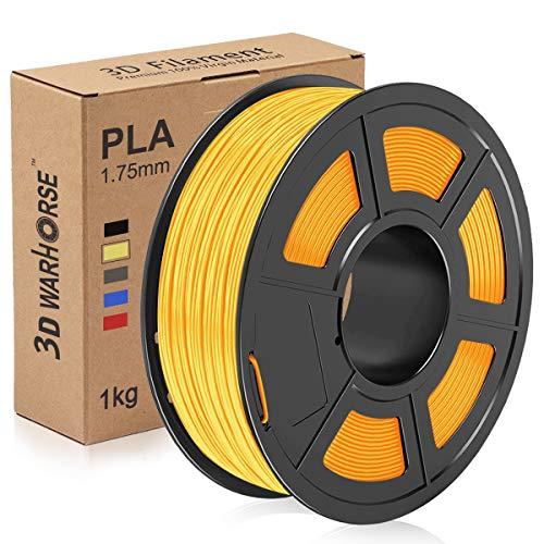 PLA Filament, 1.75mm 3D Printer Filament, PLA 3D Printing 1KG Spool, Dimensional Accuracy +/- 0.02mm, Gold