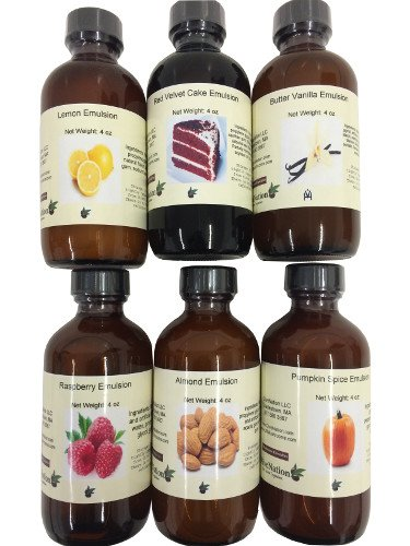 OliveNation Set of 6 Emulsions 4 oz each 80 oz - (Lemon, Red Velvet Cake, Butter Vanilla, Raspberry, Almond, Pumpkin Spice) - Premium Quality Flavoring Extract for Baking