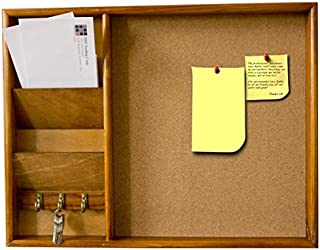 Home Basics Wall Mounted Wood Bulletin Board with Mail Organizer And 3 Hook Key Holder, Pine