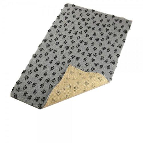 Hundedecke, Thermodecke Grau, Schwarze Pfötchen, waschbar, antirutsch, 75x50cm, 30mm