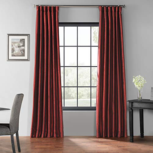HPD Half Price Drapes PDCH-KBS5BO-108 Blackout Vintage Textured Faux Dupioni Silk Curtain (1 Panel), 50 X 108, Ruby