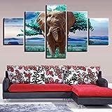CNCN ImágenesLienzo Modular Impresiones en HD Cartel 5 Unidades Animales Elefantes Árboles Verdes Paisaje Pintura Decoración Salón Arte de la Pared 20x35cm 20x45cm20x55cm